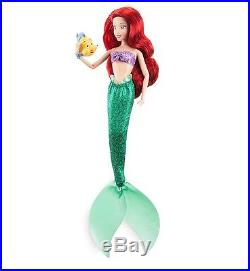 2017 Disney Store Classic Princess Little Mermaid Ariel Doll 12 With Flounder