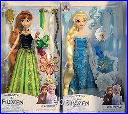 2021 Disney Store Elsa Hair Play Doll and Disney Store Anna Hair Play Doll