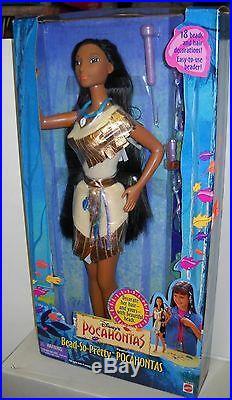 #2925 NIB Vintage Mattel Disney Pocahontas Bead So Pretty Pocahontas Doll