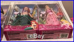 4 Mattel Disney Sparkle Princess Jasmine Ariel Belle Aurora Dolls NRFB 2004