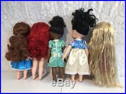 5 Disney 16 Princess Toddler Animator Doll Lot Belle Ariel Tiana Rapunzel Snow