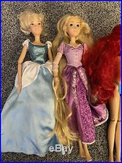 5 Disney Store Princess 17 Singing Doll Ariel Belle Jasmine Cinderella Rapunzel