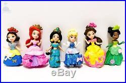 6pcs Disney Princess Mini Dolls Resin Character Figures Toy Miniature 85mm 50mm