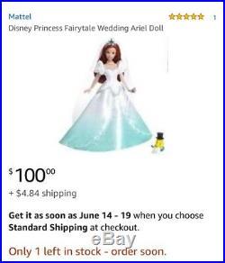 Barbie Disney Princess Fairytale Wedding Ariel Cinderella Doll 2008 Mattel