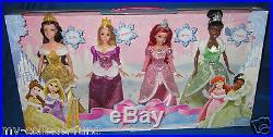 Barbie Disney Princess Winter Gift Set Of 4 Tiana Belle Rapunzel Ariel NEW
