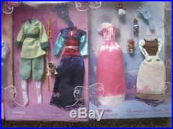 Brand NEW sealed classic Lot Disney Store Princess clothes outfit dolls 12