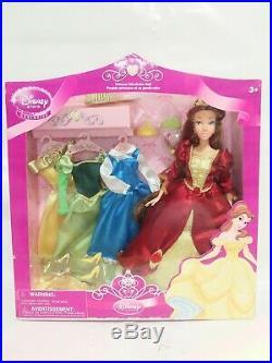 DISNEY STORE Princess Wardrobe BELLE Doll RARE HTF USED IN BOX