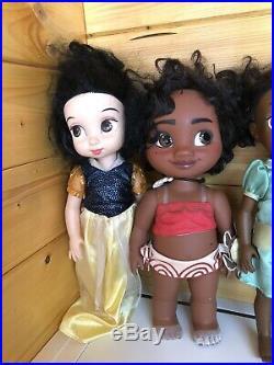 Disney Animator Dolls Bundle X9 Aurora Aladdin Rapunzel Snow White Anna +