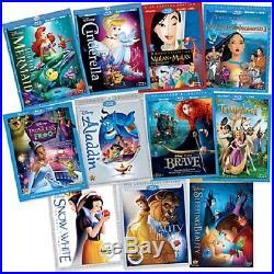 Disney LE Dream Big Ultimate Princess Collection Dresses sz7/8 Tiaras Dolls DVDs
