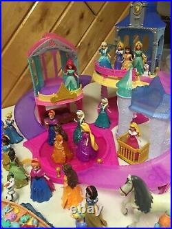 Disney Princess Glitter Glider Beautiful Castle Playset W 20 + Dolls Furniture