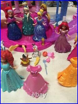 Disney Princess Glitter Glider Beautiful Castle Playset W 21 Dolls Furniture +