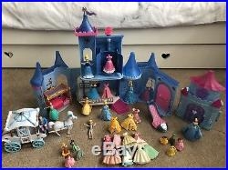 Disney Princess MAGICLIP CINDERELLA CASTLE Plus Dolls Outfits Carriage & More