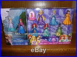 Disney Princess MAGICLIP Dolls 8 Pack Set Elsa Anna Merida Ariel Belle Tiana