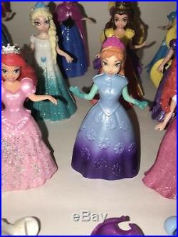 Disney Princess MAGIC CLIP Magiclip Polly Pocket Snap On DRESS Dolls HUGE Lot