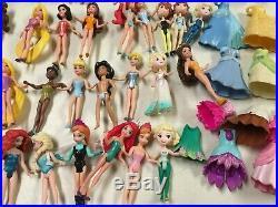 Disney Princess Magic Clip & Polly Pocket Mega Lot Dolls Dresses ++ 65 Pcs