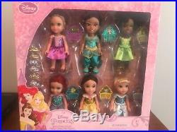 Disney Princess Petite 6 Doll Gift Set with rare Jasmine and Cinderella dolls