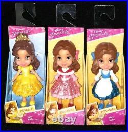 Disney Princess Posable Mini Toddler Dolls Mulan Ariel Belle Jasmine Aurora New