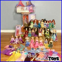 Disney Princess RAPUNZEL'S TOWER Castle House 26 Barbie Dolls HUGE LOT Gowns 42