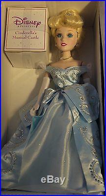 Disney Princess Set 3 Brass Key Musical Castle Porcelain Doll Cinderella Belle