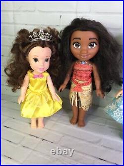 Disney Princess Tollytots Toddler Dolls Lot Belle Moana Elsa Anna Merida Prince