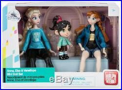 Disney Ralph Breaks the Internet Anna, Elsa and Vanellope Mini Doll Set NEW