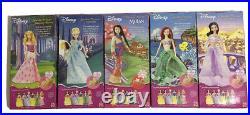 Disney Sparkle Princess Barbies Lot Of 5 Ariel Jasmine Cinderella Mulan Sleeping