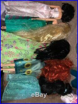 Disney Store 12 Doll Lot Cinderella Aurora Elsa Belle Anna Jasmine Mulan Tinker