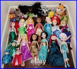 Disney Store 21 Princess Plush Doll and Friends Lot