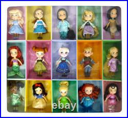 Disney Store ANIMATORS Collection 5 MINI DOLL SET 15 Figure Display Box Toy