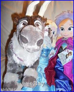 Disney Store Authentic Frozen Elsa Anna Olaf Sven Kristoff 20 Plush Dolls Set