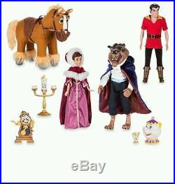 Disney Store Beauty and the Beast Deluxe Doll Gift Set Mrs Potts Chip Gaston NIB
