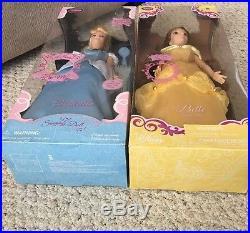 Disney Store Exclusive Singing Belle and Cinderella Dolls 17 2010 NIB