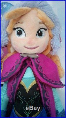 Disney Store Frozen 20 inches Elsa And Anna Plush Soft Doll BRAND NEW