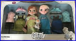 Disney Store Frozen Deluxe Anna and Elsa Animator Toddler Doll Gift Set NEW NRFB