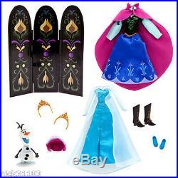 Disney Store Frozen Deluxe Doll Giftset Elsa Anna Kristoff Hans Olaf Coronation