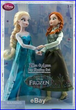 Disney Store Frozen Elsa And Anna Ice Skating Doll Set Sisters Holiday Giftset