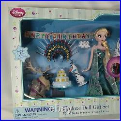 Disney Store Frozen Fever Happy Birthday Deluxe Doll Set Singing Elsa Anna 15 Pc