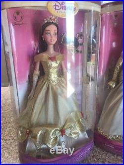 Disney Store Jasmine CINDERELLA Sleeping BEAUTY BELLE Golden Princess Doll SET
