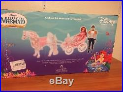 Disney Store Little Mermaid Princess Ariel Doll Horse and Carriage Set Rare