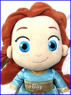 Disney Store Merida Tiana Toddler Brave Princess Stuffed Plush Doll Set RARE