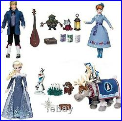 Disney Store Olaf's Frozen Adventure Singing Doll Deluxe Gift Set Anna Elsa New