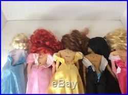 Disney Store Princess 17in Singing Dolls Lot Ariel Belle Elsa Jasmine Aurora