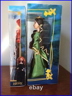 Disney Store Princess Dolls Pixar Brave Queen Elinor & Bear Doll Set + Merida