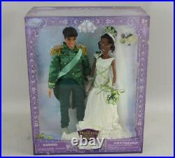 Disney Store Princess and Frog Tiana & Prince Naveen Royal Wedding Doll Set NIB