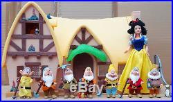 Disney Store Snow White & 7 Dwarfs Cottage Doll House Play set Furniture Barbie