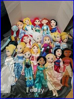 Disney princess 20 Plush dolls LOT OF 19 DOLLS GREAT DEAL
