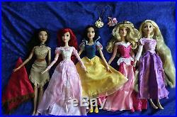 Disney singing dolls 17 LOT of 5 Ariel Rapunzel Pocahontas Aurora Snow White