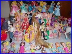 Huge 300+polly Pocket Lot 100 Dollsdisney Princess/prince Magic Clips Clothes+