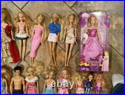 Huge Lot 30 Barbie Dolls Ken Dog Disney Princess Aurora Sleeping Beauty NIB Surf