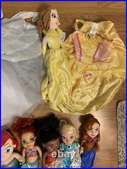 Huge Lot Disney Princess Costumes Sz 4-6 Dresses Accessories Shoes Dolls Toys
